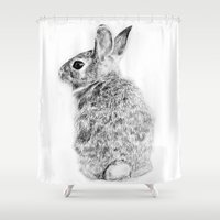 rabbit Shower Curtains featuring Rabbit by Anna Shell