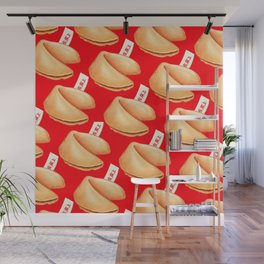 Fortune Cookie Pattern - Red Wall Mural