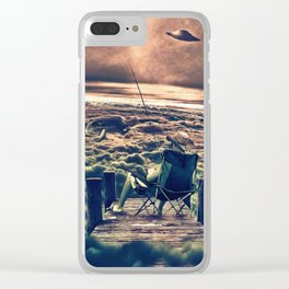 Fishing Above the Clouds Clear iPhone Case