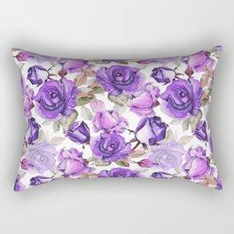 Violet lilac pink watercolor botanical roses floral Rectangular Pillow