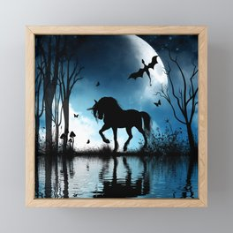 Beautiful unicorn with flying dragon in the sky Framed Mini Art Print