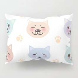 pattern funny cat muzzle and paw prints on white background Pillow Sham