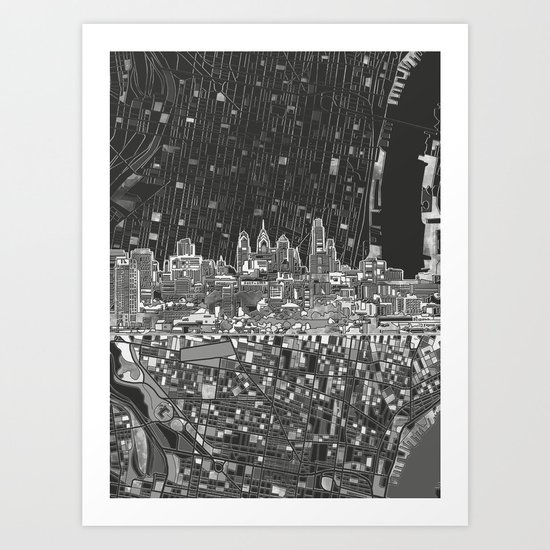 philadelphia city skyline black and white Art Print