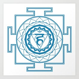 Sri Yantra Throat Chakra Art Print