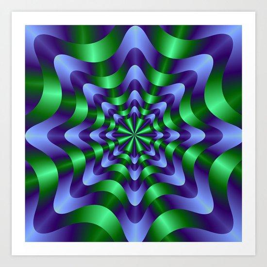 Blue and Green Swirl Art Print