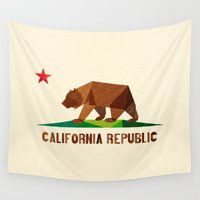 leather Wall Tapestries featuring California by Fimbis