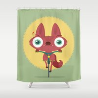 bicycle Shower Curtains featuring Bicycle by Maria Jose Da Luz