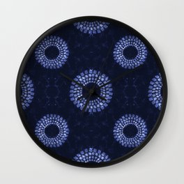 Shibori on Navy Wall Clock