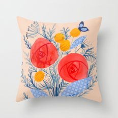Floral Collage Painting With Red Flowers Blue Butterflies Throw Pillow