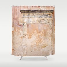 Ancient Marble Doorframe and Plaster, Crete, Greece Shower Curtain
