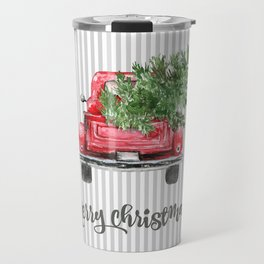 Red Truck With Christmas Tree Travel Mug