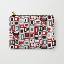 Mid Century Modern Squares and Rectangles // Red, Gray Black, White Carry-All Pouch