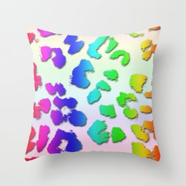 Rainbow Leopard Spots & Pastel Background Throw Pillow