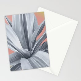 Tropical cactus leaves. pink. grey. Stationery Cards
