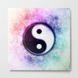 Yin Yang - Sunset Over The Green Forest Metal Print