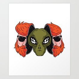 Alien with mask Hipster Art Print