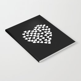 Hearts on Heart White on Black Notebook