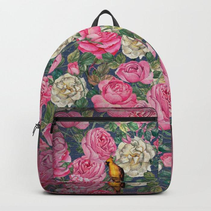 Vintage grunge Floral Rose and Birds Pattern Backpack
