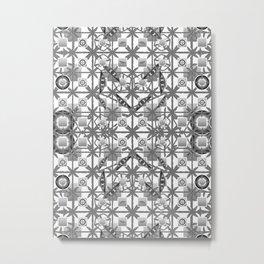 Tribal Batik, Grey / Gray, Black and White Metal Print