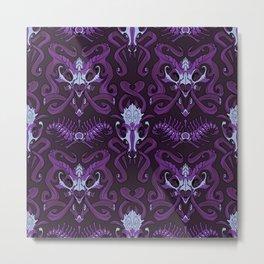 Monster Damask (purple) Metal Print