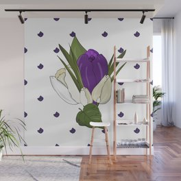 Seamless  pattern with cream tulips and violet crocus and leaves and lilac. Endless spring hand draw Wall Mural