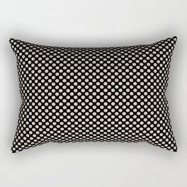 Black and Frosted Almond Polka Dots Rectangular Pillow
