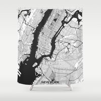 new york map Shower Curtains featuring New York Map Gray by City Art Posters