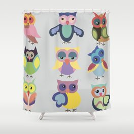 Set of cute colorful owls Shower Curtain