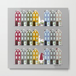 Row Houses + Gnome Metal Print