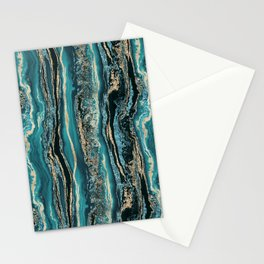 Turquoise Gold Sparkling Luxury Marble Gemstone Art Stationery Cards