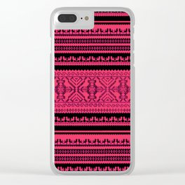 nordic pattern with singing birds Clear iPhone Case