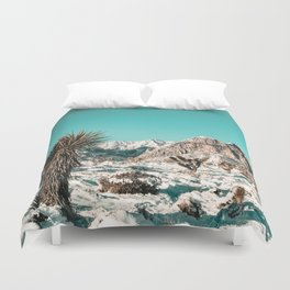 Vintage Lovers Cacti // Red Rock Canyon Mojave Nature Plants and Snow Desert in the Winter Duvet Cover