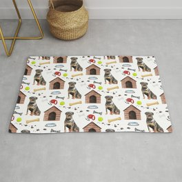 Rottwelier Dog Half Drop Repeat Pattern Rug