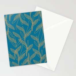 Retro Botanical Pattern in Gold and Peacock Blue Stationery Cards