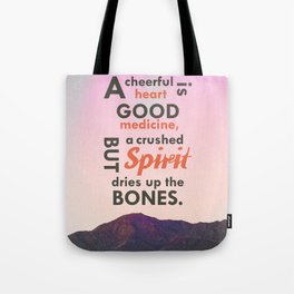 A Cheerful Heart Typographic Art Tote Bag