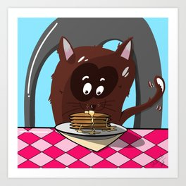 Cat Breakfast Pancakes Happy Art Feel Good Collection Cartoonish Art Print
