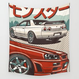 Monster Skyline GTR R32 and  R34 Wall Tapestry