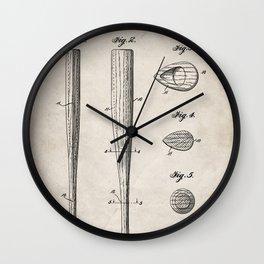 Baseball Bat Patent - Baseball Art - Antique Wall Clock