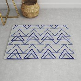 Blue Grey Geometric Pyramid  Rug