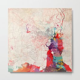 Mobile map Alabama painting Metal Print