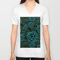 mod V-neck T-shirts featuring mod flowers by Sylvia Cook Photography