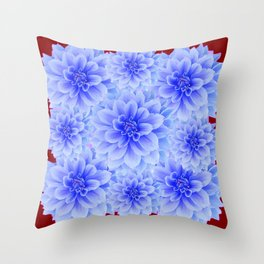 BLUE WHITE DAHLIA FLOWERS IN CHOCOLATE BROWN Throw Pillow