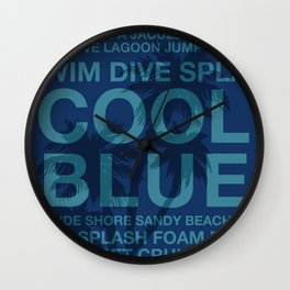Summer Words Poolside and Palm Tree Hawaiian Graphic Design Wall Clock