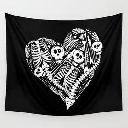 Skeletal Love Heart  (Black) Skulls and Bones Wall Tapestry