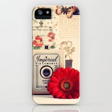 Retro Camera and Red Flower (Retro and Vintage Still Life Photography) iPhone (5, 5s) Slim Case