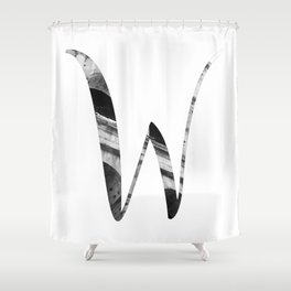 """""""Colosseum Collection"""" - Minimal Letter W Print Shower Curtain"""