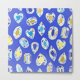 diamonds sketch, hand drawn crystals, white gold, sunshine yellow sky blue, indigo, cobalt, mustard Metal Print