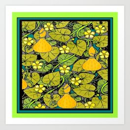 Green Art Nouveau Vines Gourds Floral Teal Art Art Print