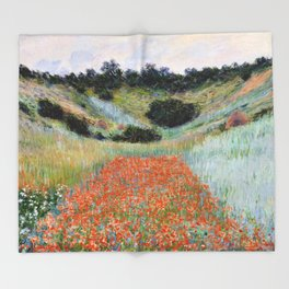 Poppy Field in a Hollow near Giverny by Claude Monet Throw Blanket