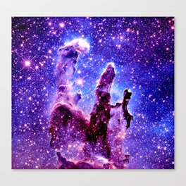 Galaxy Nebula : Pillars of Creation Purple Blue Canvas Print